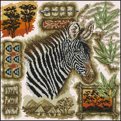 Вышивка с африканскими животными 42