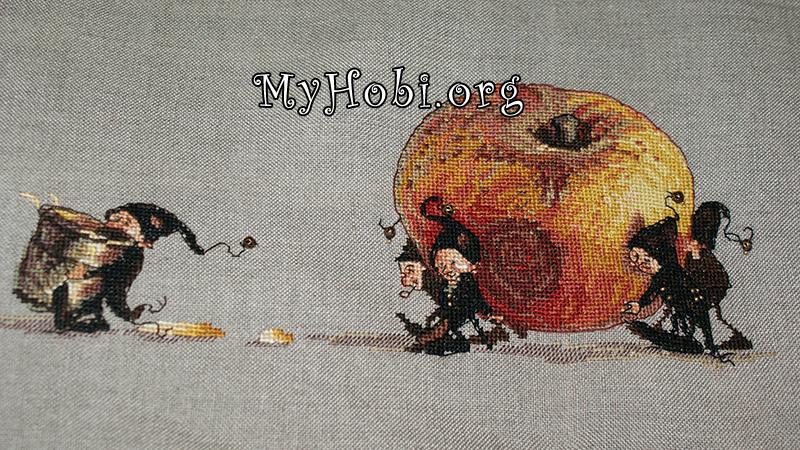 процесс вышивки яблоко от нумиё