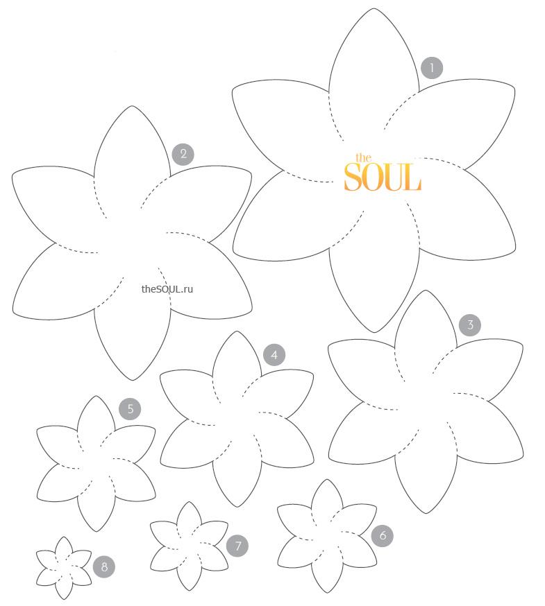 Цветы своими руками из бумаги шаблон