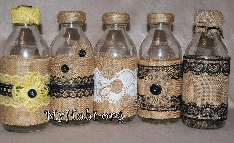 декорируем бутылки своими руками - мешковина
