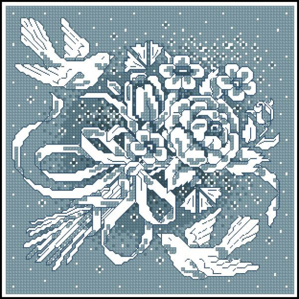 Cross stitch Fssisi Bouquet bloe