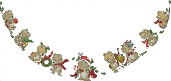JCA -02914 Christmas Teddies Tree Skirt
