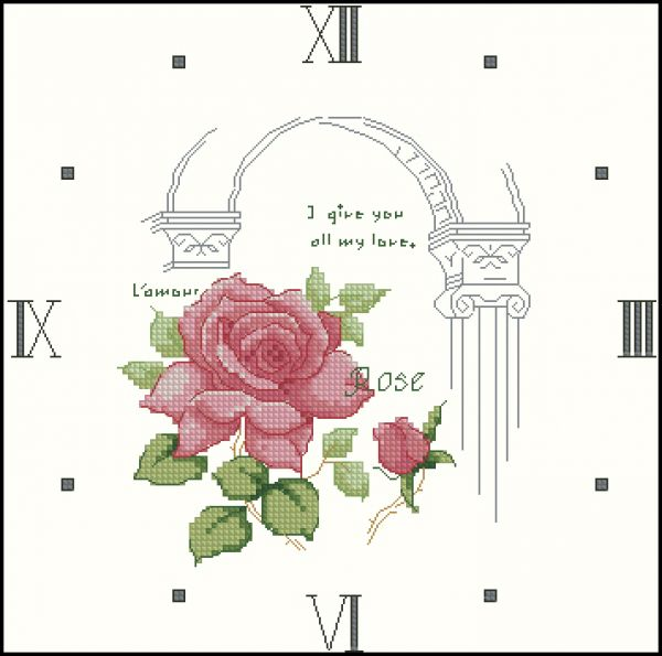 MF-101 Flower Collection 1 Rose Clock