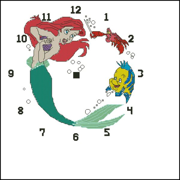LA3396 Disney Princesses Ariel Clock
