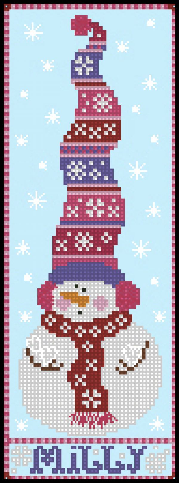 Stitchy Kitty Snowman Trio SKST15 Milly