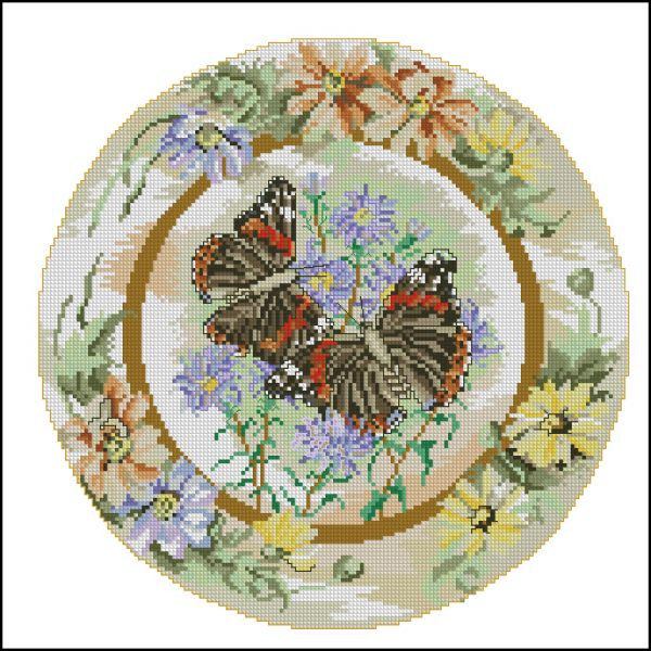 Anchor CC83326 Red Admiral Butterflies with Daisies